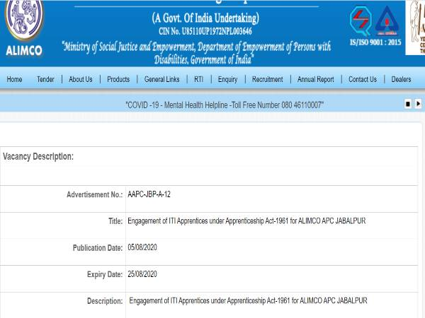 ALIMCO Recruitment 2020 For ITI Apprentices Post, Apply Offline Before August 25