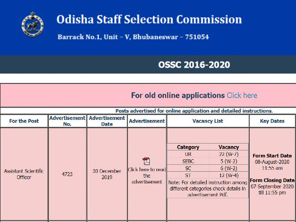 OSSC Recruitment 2020 For 45 Assistant Scientific Officer Posts, Apply Online Before September 7