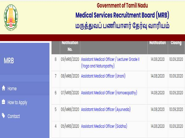 TN MRB Recruitment 2020: 61 Asst. MO
