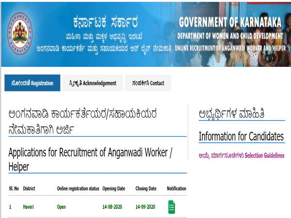 WCD Haveri Recruitment: Anganwadi Jobs