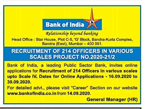 Bank of India Recruitment 2020: Officers