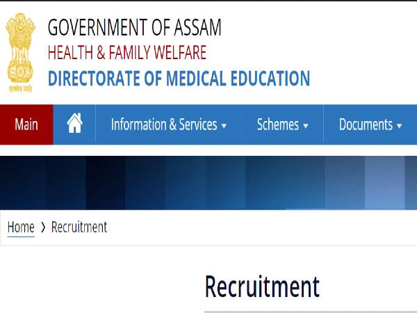 DME Assam Recruitment 2020 For 484 Staff Nurse (Critical Care) Posts, Apply Online Before October 7