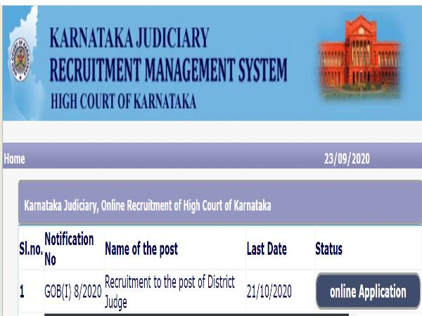 Karnataka High Court Recruitment 2020 For 30 District Judges Post. Apply Online Before October 21