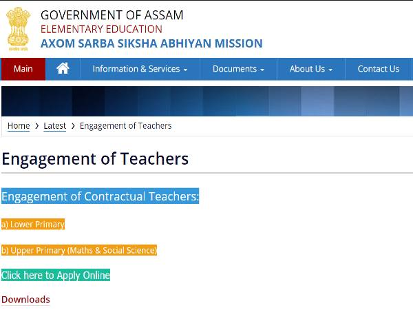 SSA Assam Recruitment 2020 For 3,753 Assistant Teachers Post From Assam TET Qualified Candidates