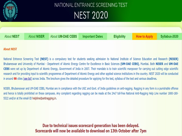 NEST Result 2020 Released, Check Admission Page And Scorecard Link