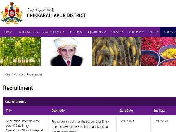 Chikkaballapur District DLO Recruitment 2020: DEO