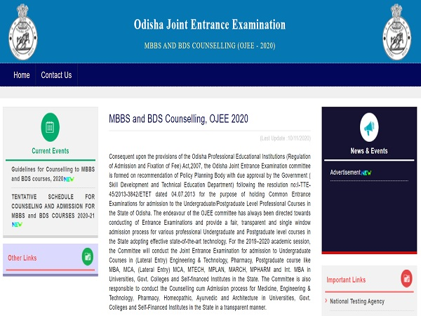 Odisha NEET UG Counselling 2020
