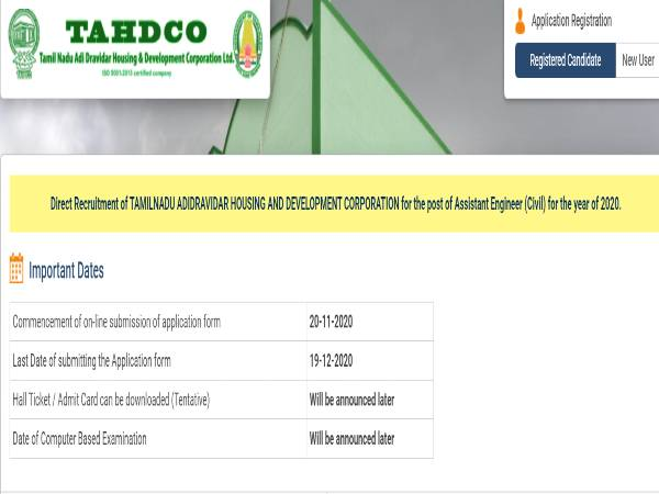 TAHDCO Recruitment 2020 For Assistant Engineer (Civil) Posts, Apply Online Before December 19