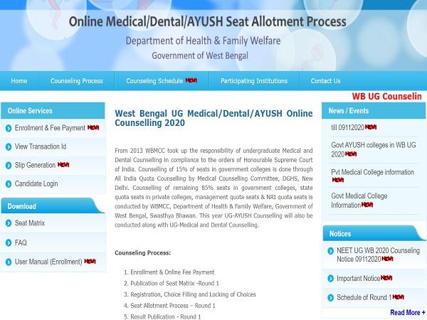 West Bengal NEET UG Counselling 2020