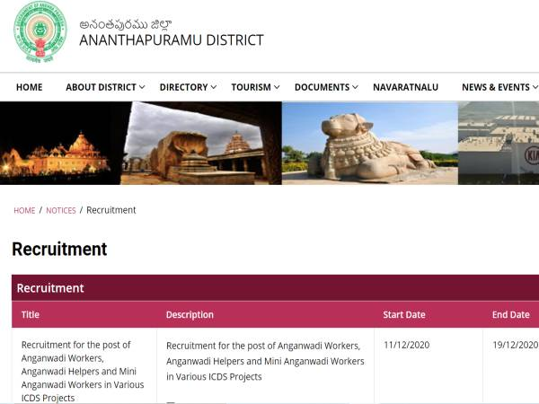 AP Anganwadi Recruitment 2020: 855 Anganwadi Jobs