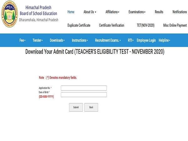HP TET Admit Card 2020 Released For November Exam