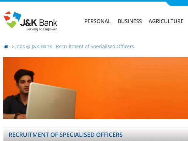 JK Bank Recruitment 2020: 21 Specialized Officers