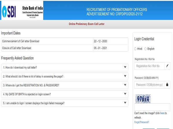 SBI PO Prelims Admit Card 2020 Released
