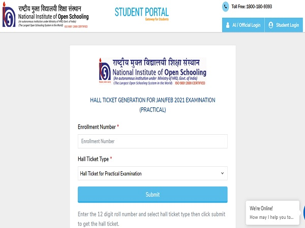 NIOS Practical Admit Card 2021 Released