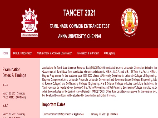 TANCET 2021 Exam Date And Registration