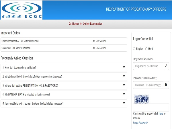 ECGC PO Admit Card 2021 Released