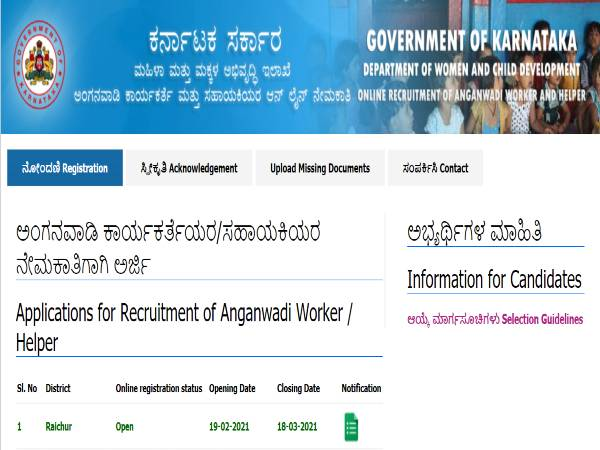 WCD Raichur Recruitment 2021 For 36 Anganwadi Helpers And Anganwadi Workers. Apply Online Before March 18