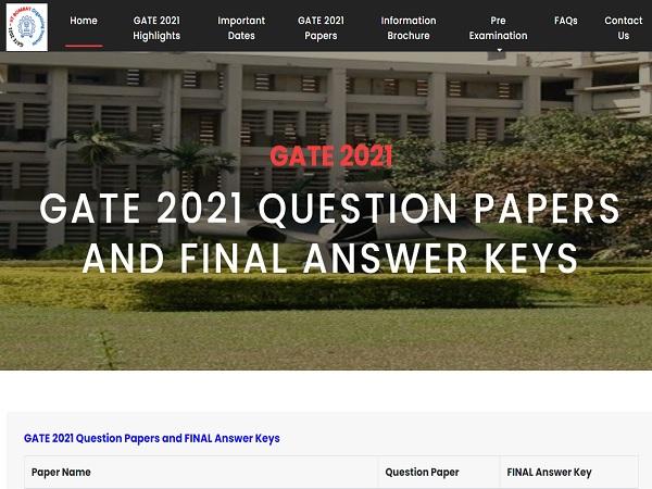 GATE Final Answer Key 2021 Released