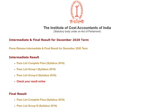 ICMAI Result Declared For Intermediate And Final