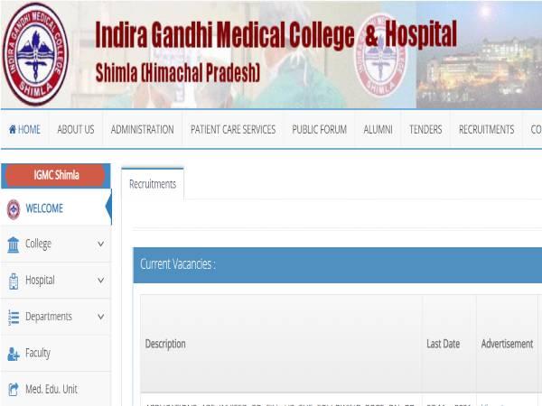IGMC Shimla Recruitment 2021: 227 Senior Resident