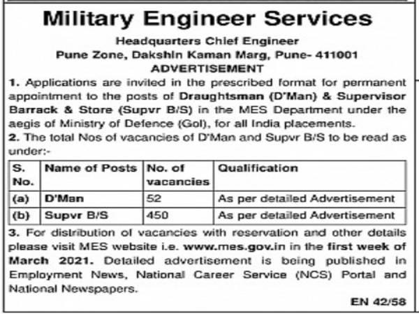 MES Recruitment 2021: 502 Supervisor, Draughtsman