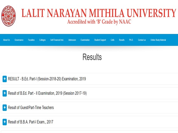 Lalit Narayan Mithila University Result 2021 Declared
