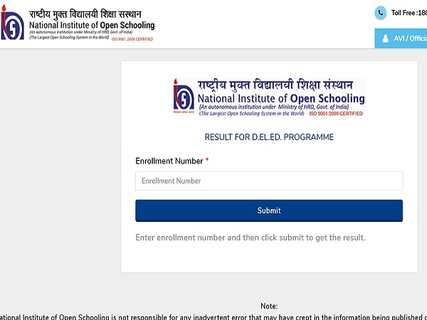 NIOS Result 2021 Declared For DElEd And Vocational
