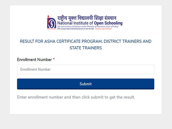 NIOS ASHA Certificate Programme Result 2021 Declared at voc.nios.ac.in