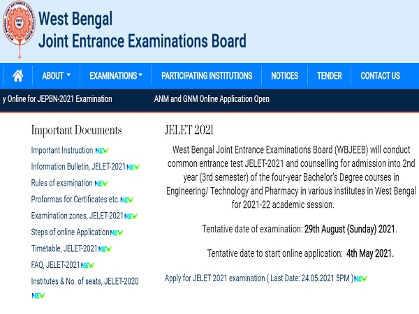 WB JELET 2021 Registration Begins, Check WBJEE JELET Exam Date And Other Details