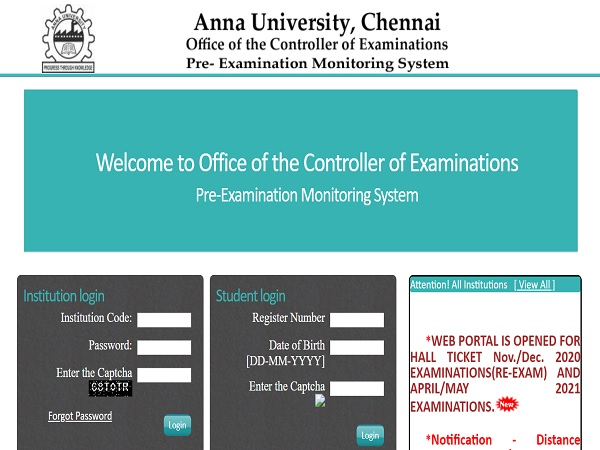 Anna University Re-exam Hall Ticket 2021 Released, Download At acoe.annauniv.edu