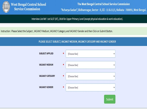 WBSSC Upper Primary Interview List Released At westbengalssc.com