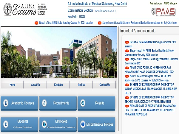 AIIMS MSc Nursing Result 2021 Declared