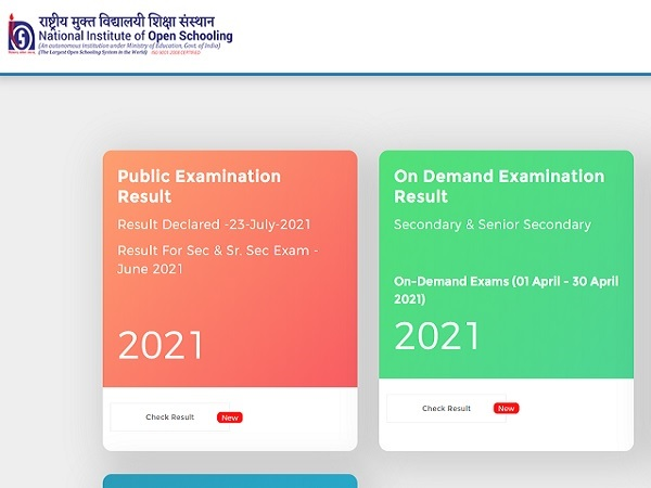 NIOS Result 2021 10th 12th Declared, Check Link And Download Marksheet