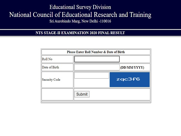 NTSE Stage 2 Result 2020 Declared
