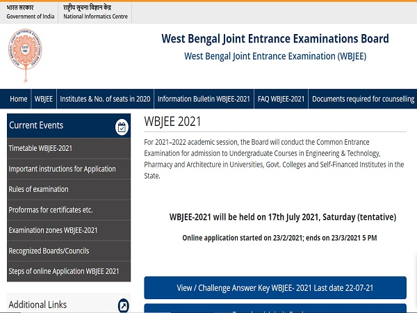 WBJEE Answer Key 2021 Released, Challenge Before July 22