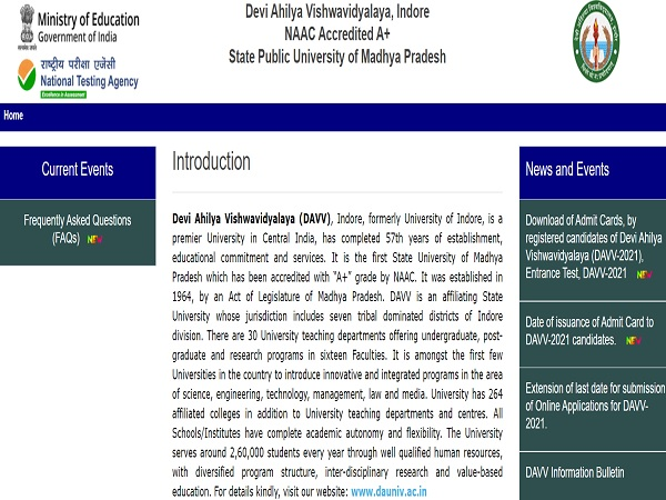 DAVV Admit Card 2021 Released