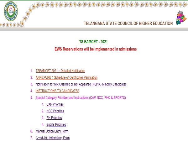 TS EAMCET Counselling 2021 Details