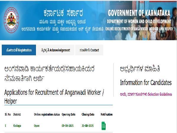 Karnataka Anganwadi Recruitment 2021: WCD Kodagu