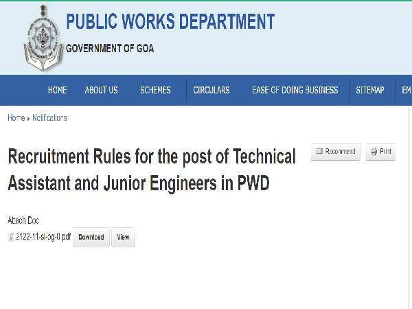 Goa PWD Recruitment 2021 For 368 Junior Engineers And Technical Assistants, Apply Online Before September 27