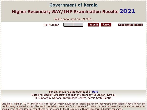 Kerala Plus Two SAY Result 2021 Declared