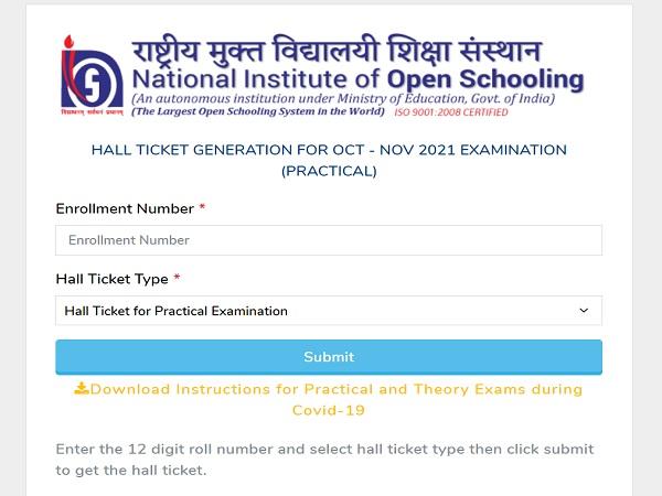 NIOS Practical Hall Ticket 2021 Released For Oct-Nov Examination