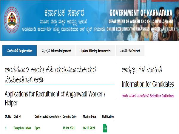 WCD Bengaluru Urban Recruitment 2021 For 357 Anganwadi Helpers And Anganwadi Workers, Apply Before October 16