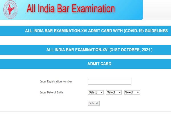 AIBE Admit Card 2021 Released, Download AIBE 16 Admit Card 2021 At allindiabarexamination.com