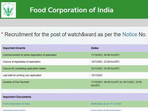 FCI Recruitment 2021 For 860 Watchman Posts, Salary Up To Rs 64,000, Apply Online Before November 10