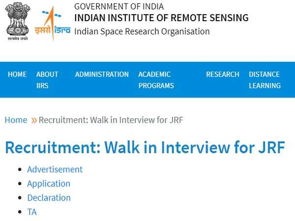 IIRS ISRO Recruitment 2021 For JRF Posts Through Walk-In Interview From October 22