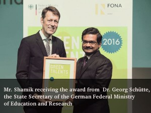 An Interview With Mr Shamik C The Winner Of Green Talents Award 2016