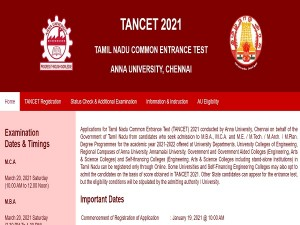 Tancet 2021 Check Exam Date Registration Application Form And Other Details