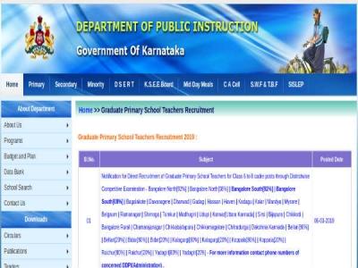 Karnataka DPI Recruitment 2019 For 10,611 Primary School