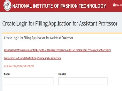 NIFT Recruitment 2019 Apply Online For 179 Assistant Professors